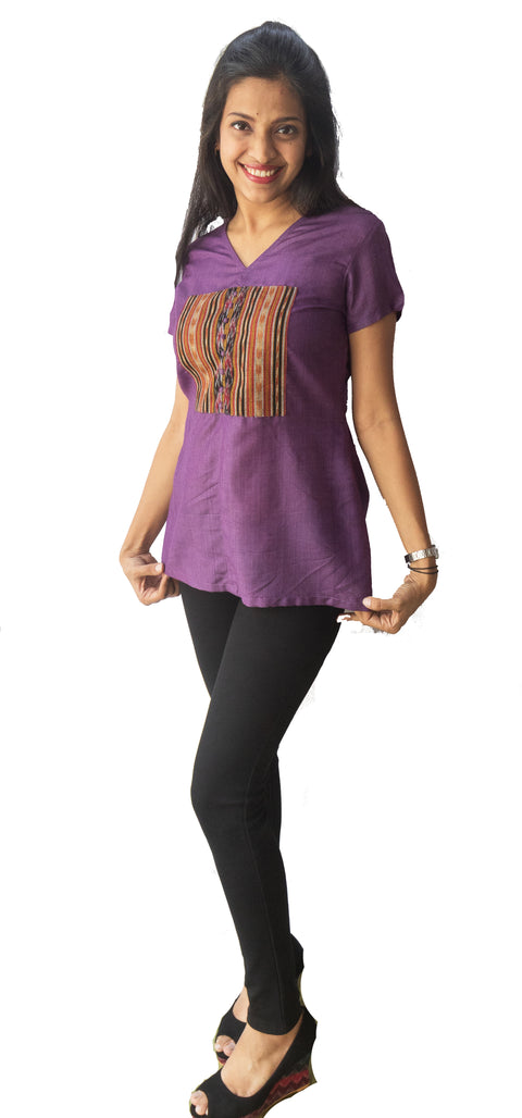 Voilet Ikat Patch Top