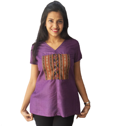 Purple Ikat Patch Top