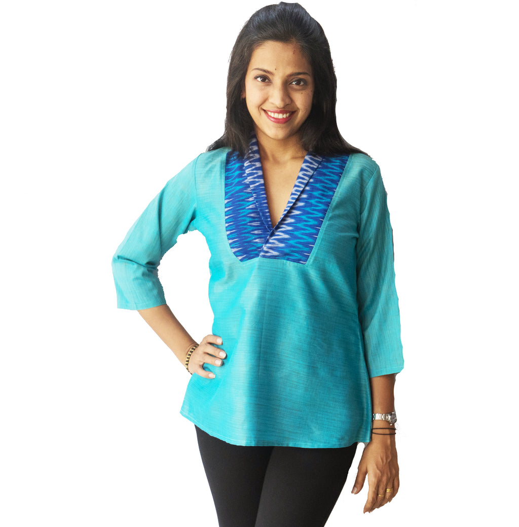 Light Blue Shawl Collar Ikat Top