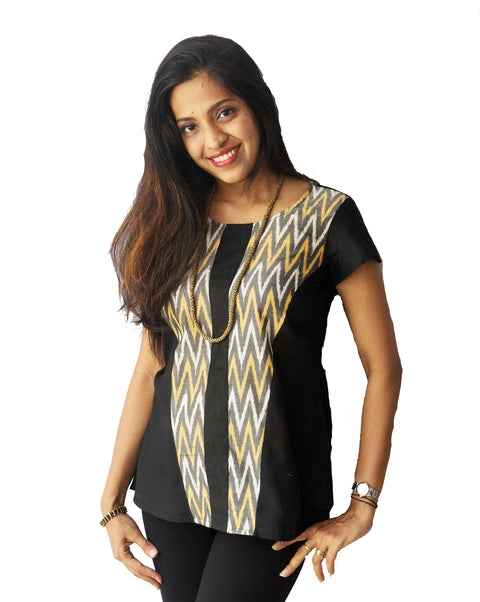 Black And Yellow Ikat Top