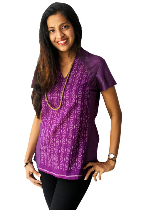 Purple High Neck Ikat Top