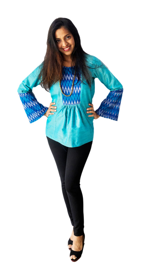Blue Ikat Patch Top With Bell Sleeves