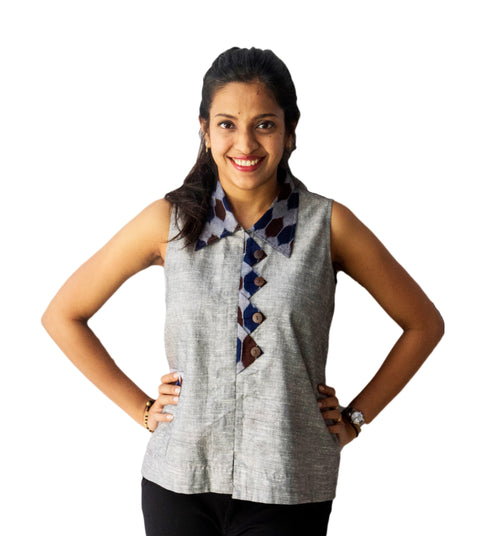 Grey Sleeveless Ikat Shirt