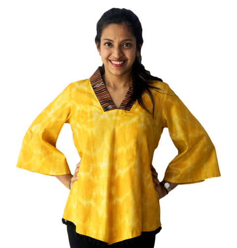 Yellow Ikat Top With Black Lace