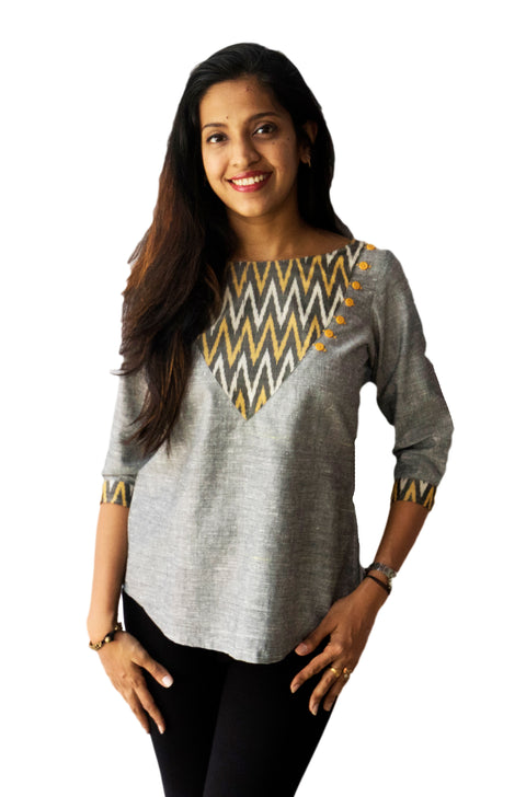 Grey Ikat Patch Top