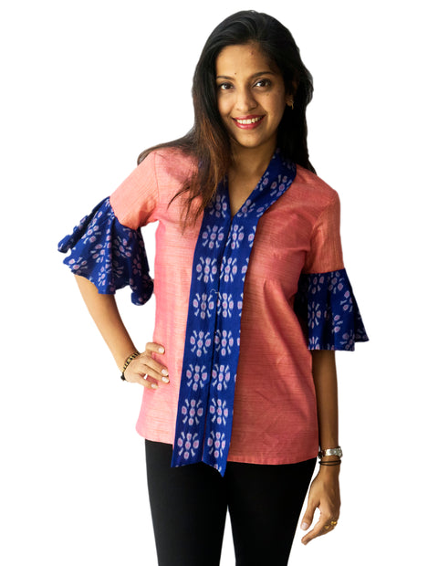 Pink And Blue Ikat Top With Bell Sleeves