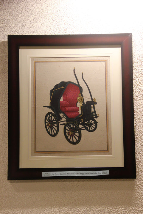 British Era Buggy (Rajasthan Miniature Painting on Paper)