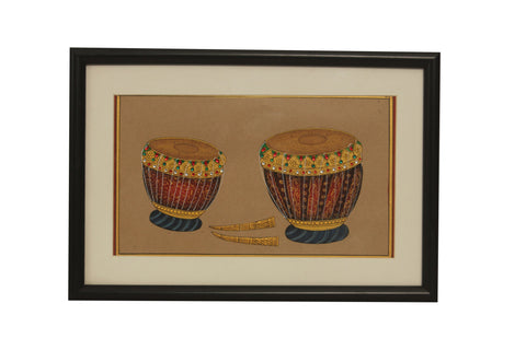 Musical Instrument (Tabla): Rajasthan Miniature Painting On Paper