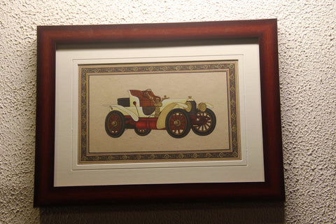 Rajasthan Miniature Painting On Paper- Vintage Car