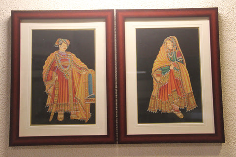 Royal Couple (Rajasthan Miniature Art on Paper)
