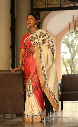 Designer Silk Handpainted Saura Saree- Pattern Circle