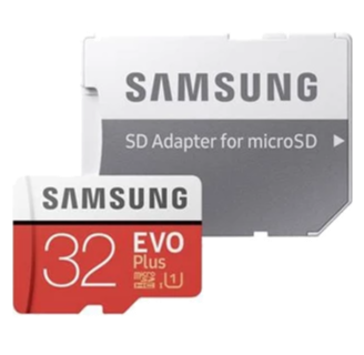Samsung MicroSDHC EVO Plus 32GB Memory Card in Red with adapter