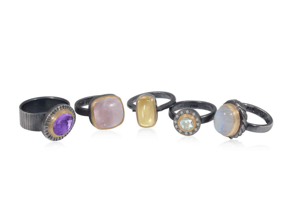 Gold and Silver gemstones rings