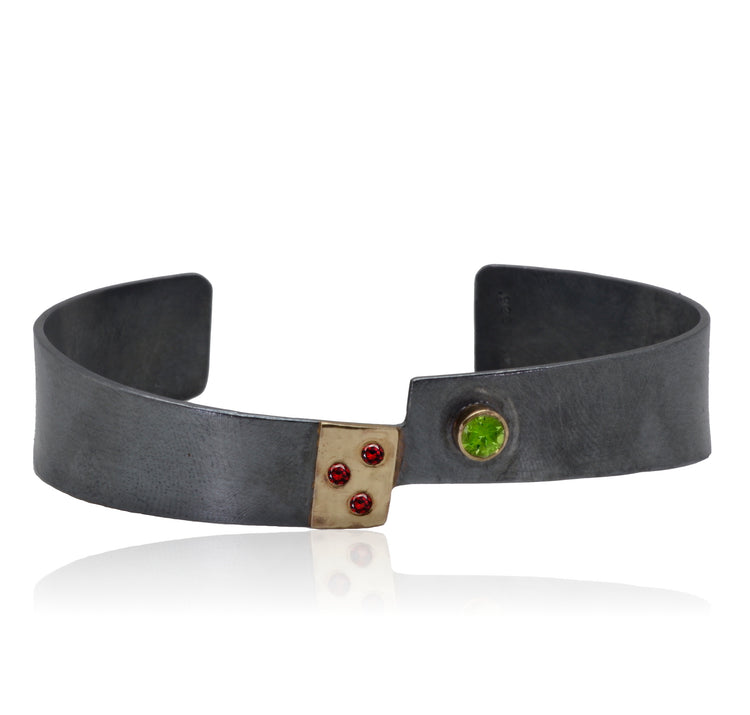 Cuff bangle 14K Gold and Patinated Sterling Silver Peridot and Garnet