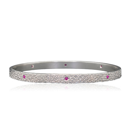 Pink Sapphires Sterling Silver Bangle bracelet