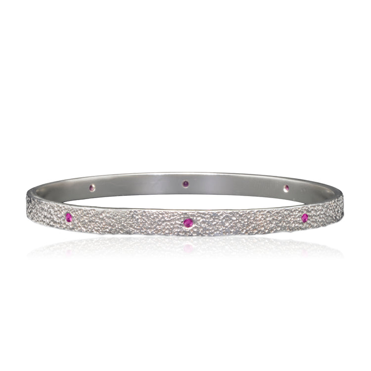 Pink Sapphires Sterling Silver Bangle