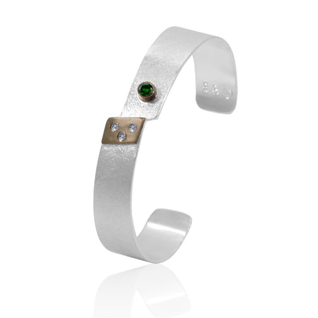 Cuff Bracelet 14K Gold, Sterling Silver, Diamonds, Tsavorite ethically sourced genuine gemstones