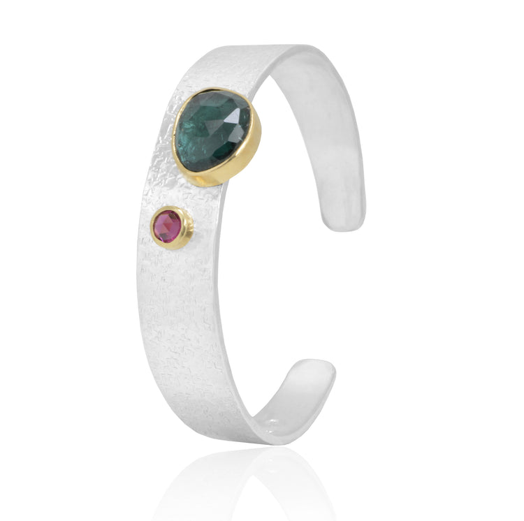 18K Gold and Sterling Silver handcrafted Tourmaline bangle