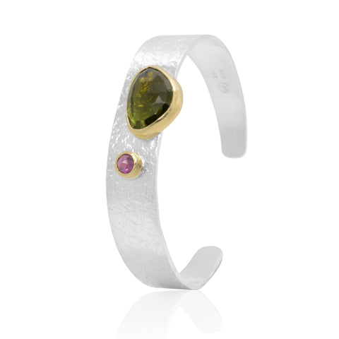 18K Gold Bezel set rosecut Tourmaline and Rhodolite on a textured Sterling Silver bangle