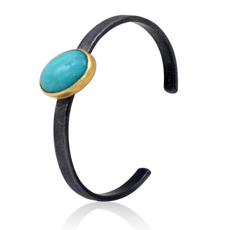 18K Gold and Patinated Sterling Silver cuff bangle with Amazonite cabocon