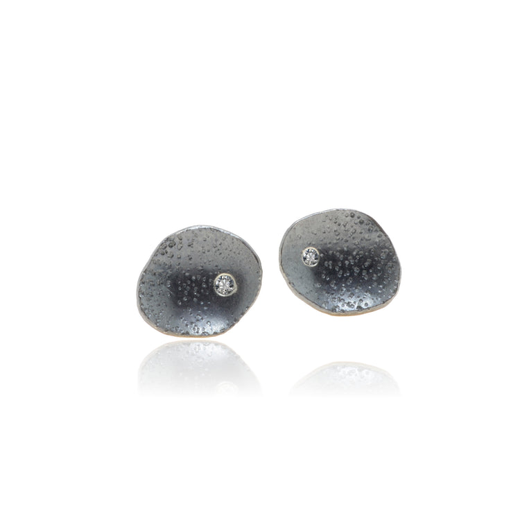 Diamond Stud Earrings with patinated textured Sterling Silver