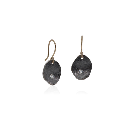 Diamond Gold and patinated Sterling Silver drop earrings