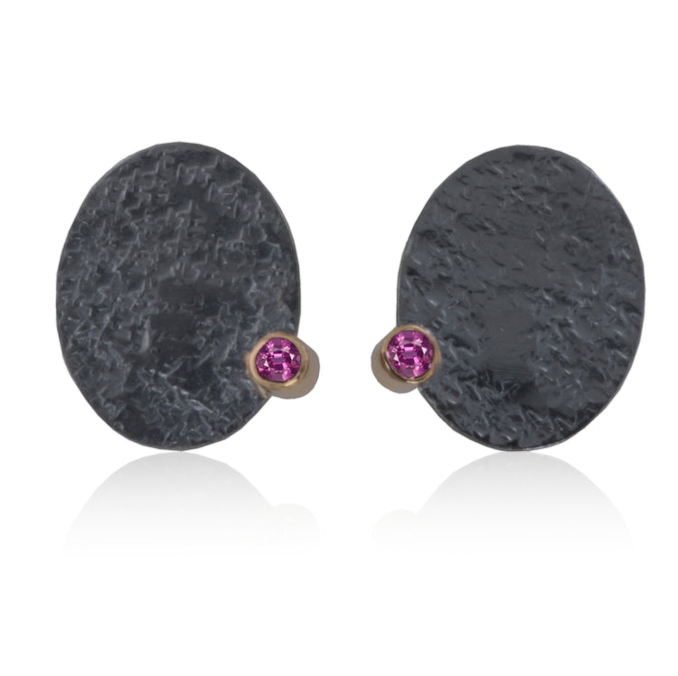 Earrings 14K Gold / Patinated Sterling Silver with Iolite / Rhodolite