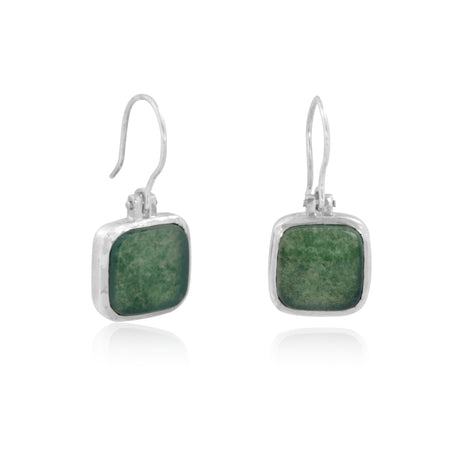 Sterling Silver dropped earrings with Moss Agate gemstones