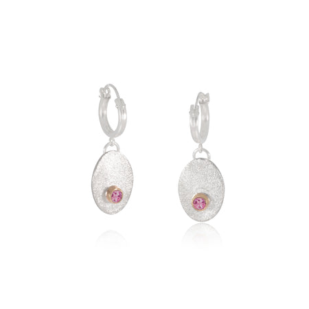 Gold and Silver dropped earrings with Pink Tourmaline