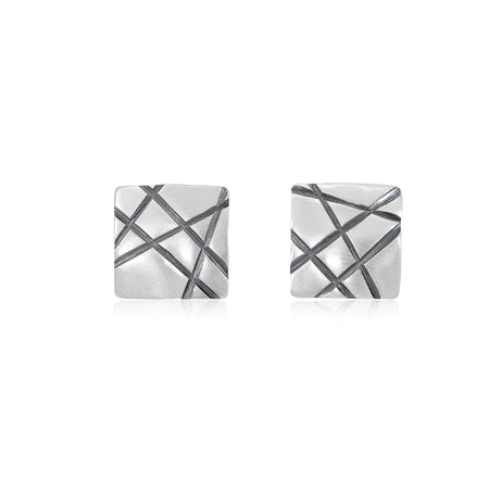 Sterling Silver Stud Square Earrings Intertwined