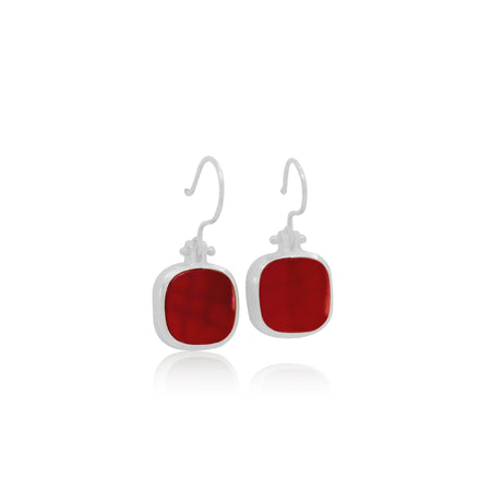 Red Onyx Sterling Silver Earrings