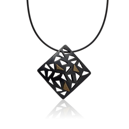 Pendant 14K Gold, patinated Sterling Silver, handcrafted details