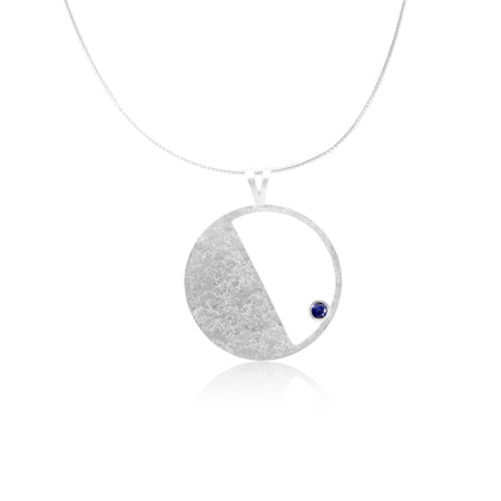 Sterling Silver pendant with Iolite gemstone Contemporary Jewellery