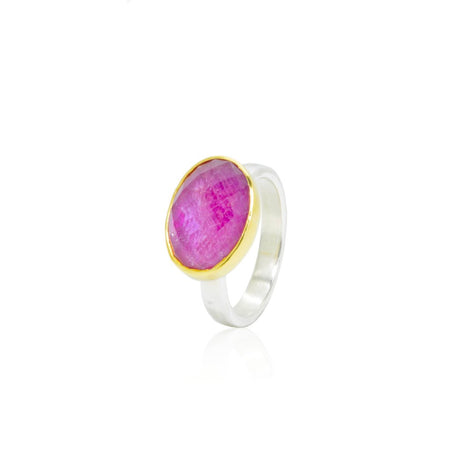 Rosecut Ruby 18K Gold and Sterling Silver Ring