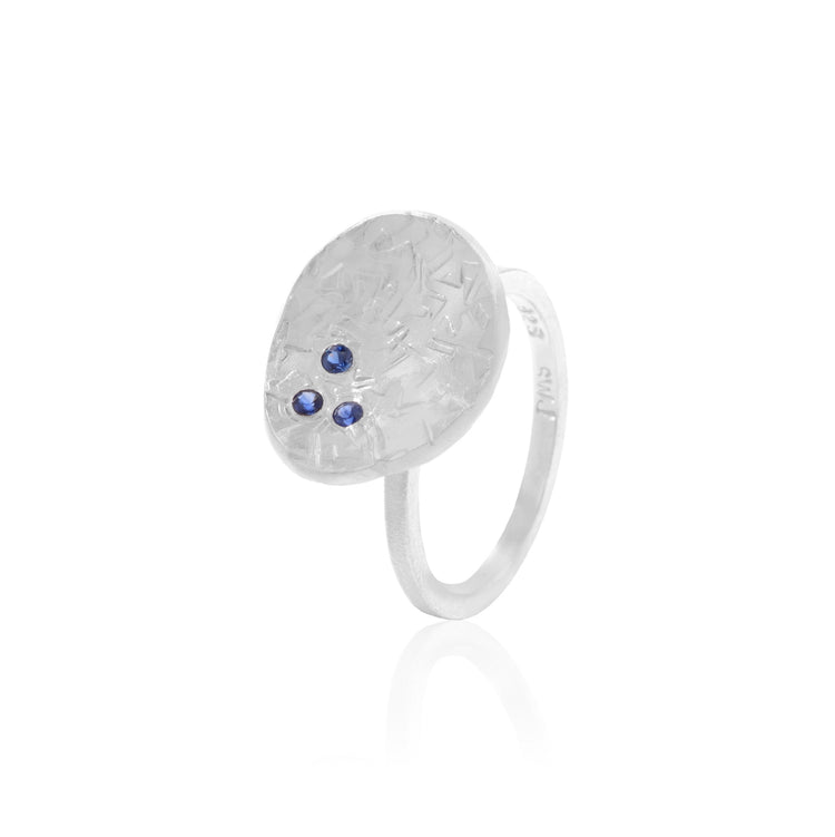 Blue Sapphire freeform textured ring in Sterling Silver