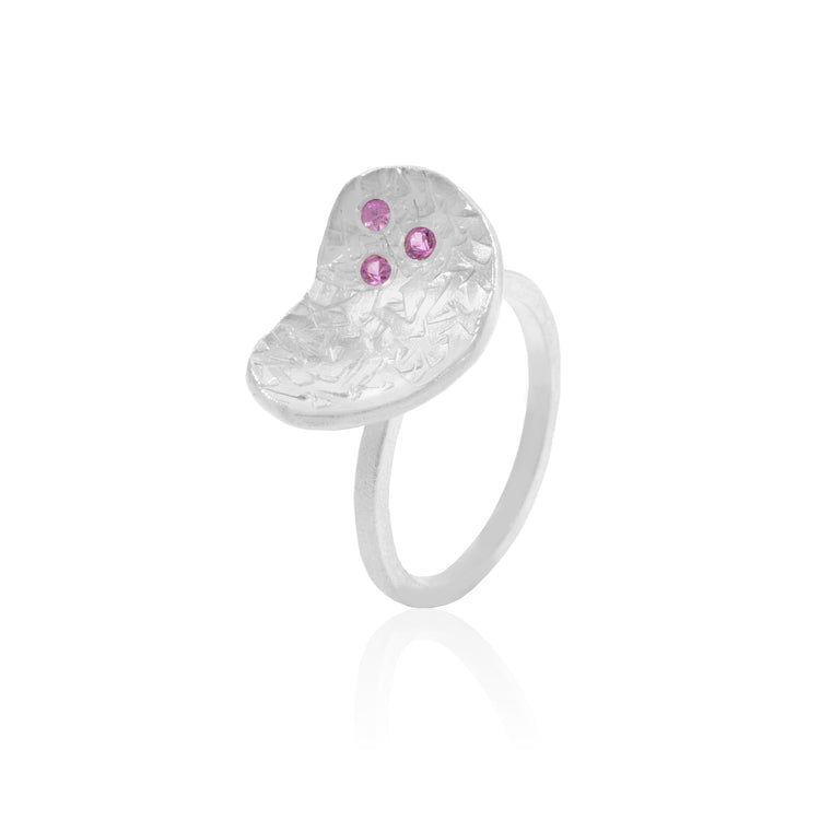 Pink Sapphire freeform textured ring in Sterling Silver