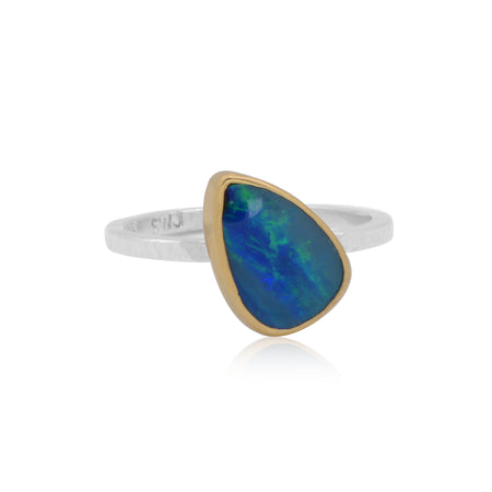 Boulder Opal set in 18K Gold with Sterling Silver shank