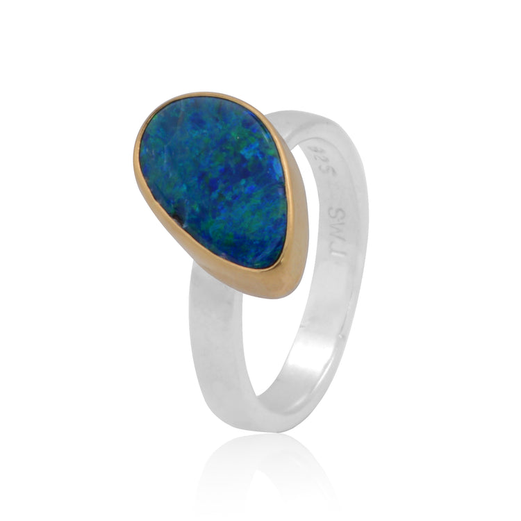 Boulder Opal bezel set in 18K Gold with Sterling Silver shank