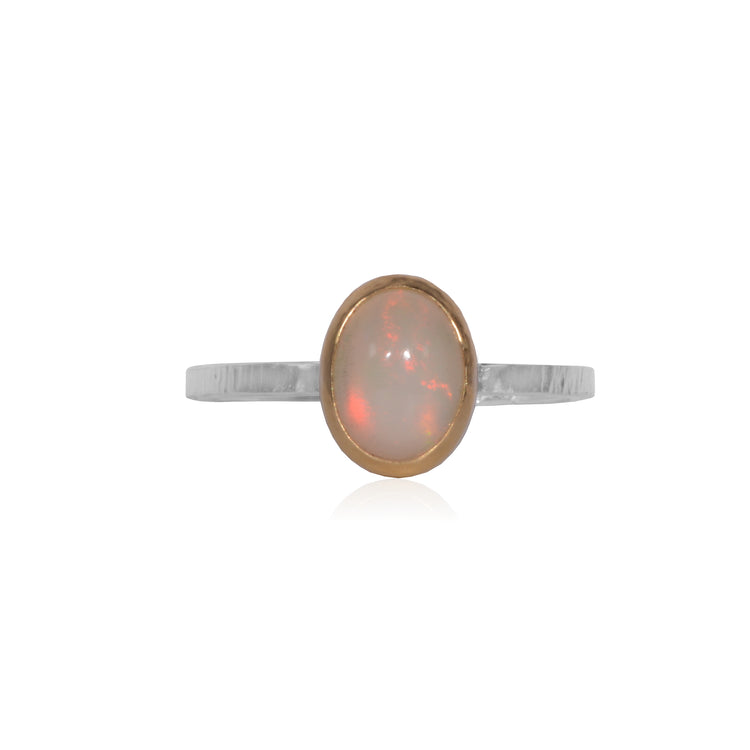 Opal 18K Gold bezel and Sterling Silver ring