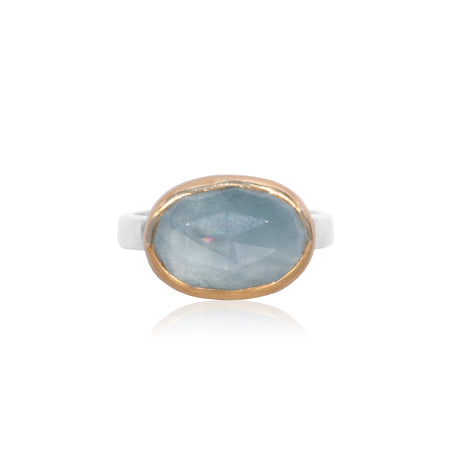 Aquamarine oval rosecut 18K Gold and Sterling Silver ring