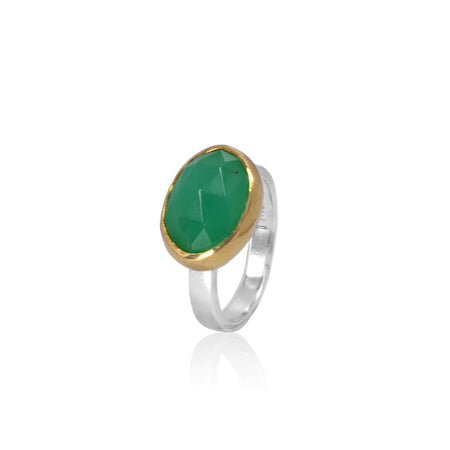 Chrysoprase rosecut 18K Gold and Sterling Silver ring