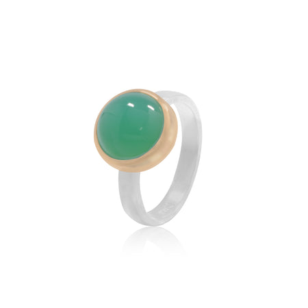 Chrysoprase cabochon 18K Gold and Sterling Silver ring