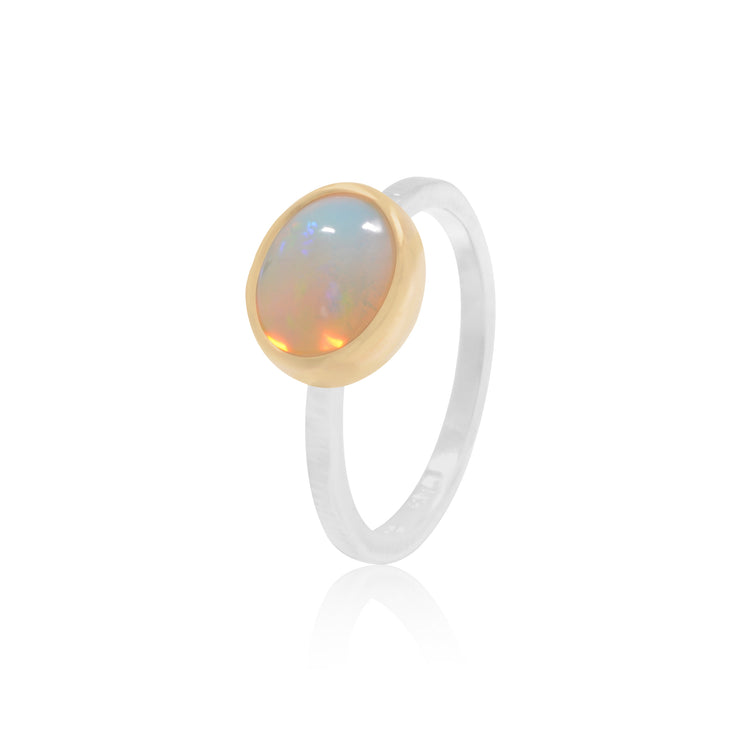 Opal Cabochon 18K Gold and Sterling Silver ring