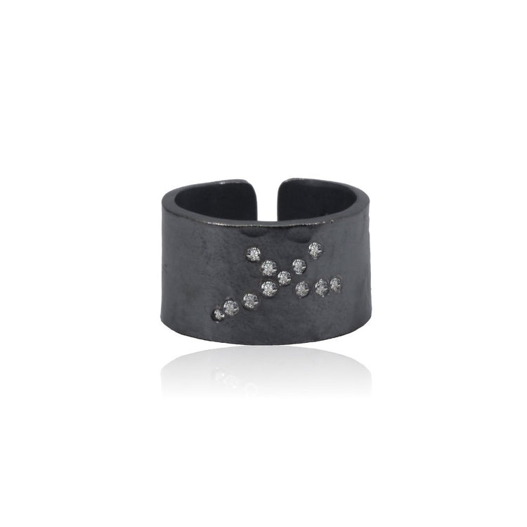 Diamond Cuff Ring Patinated Sterling Silver