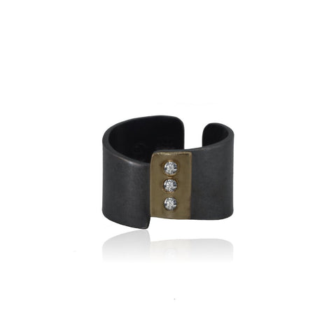 Diamond cuff ring 14K Gold and patinated Sterling Silver