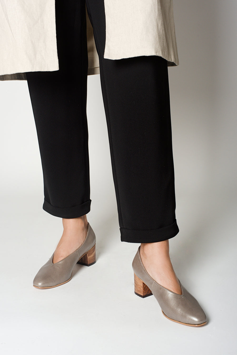 Taupe Calf Leather Pointed Pumps