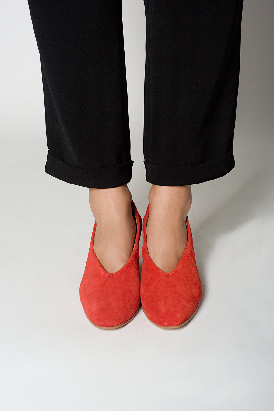 Red Suede Leather Pointed Pumps