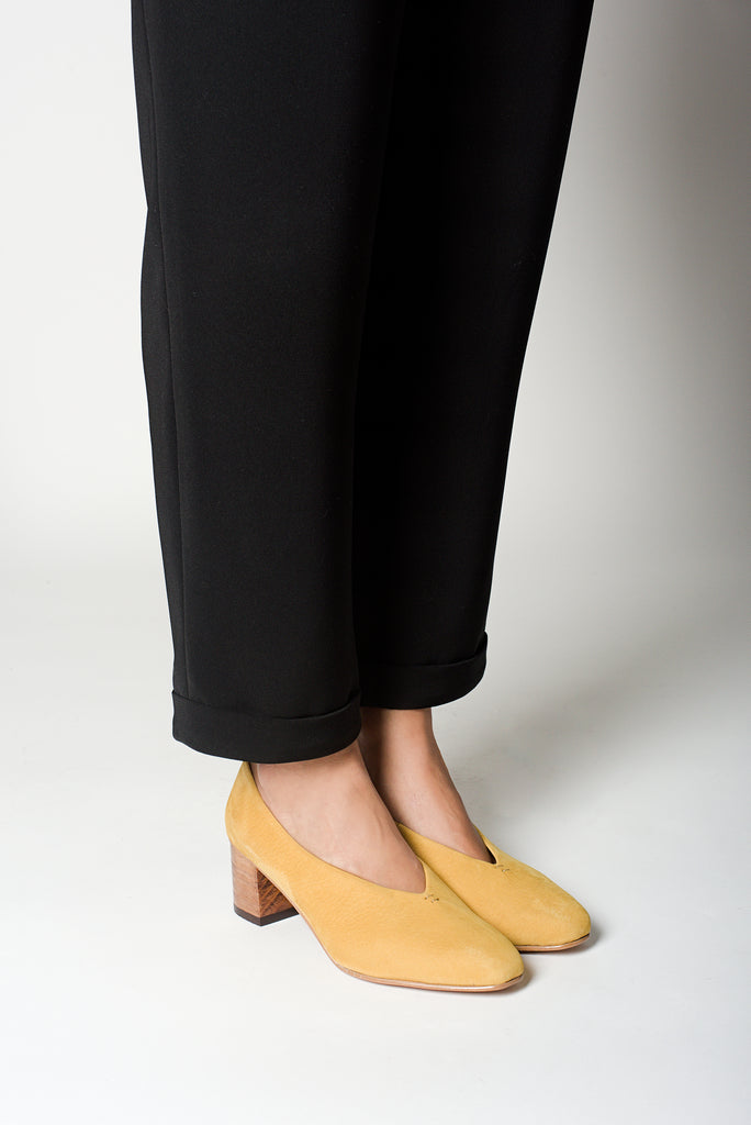 Yellow Nobuck Leather Pointed Pumps