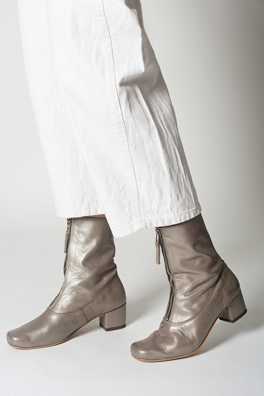 Taupe Square Ankle Boots