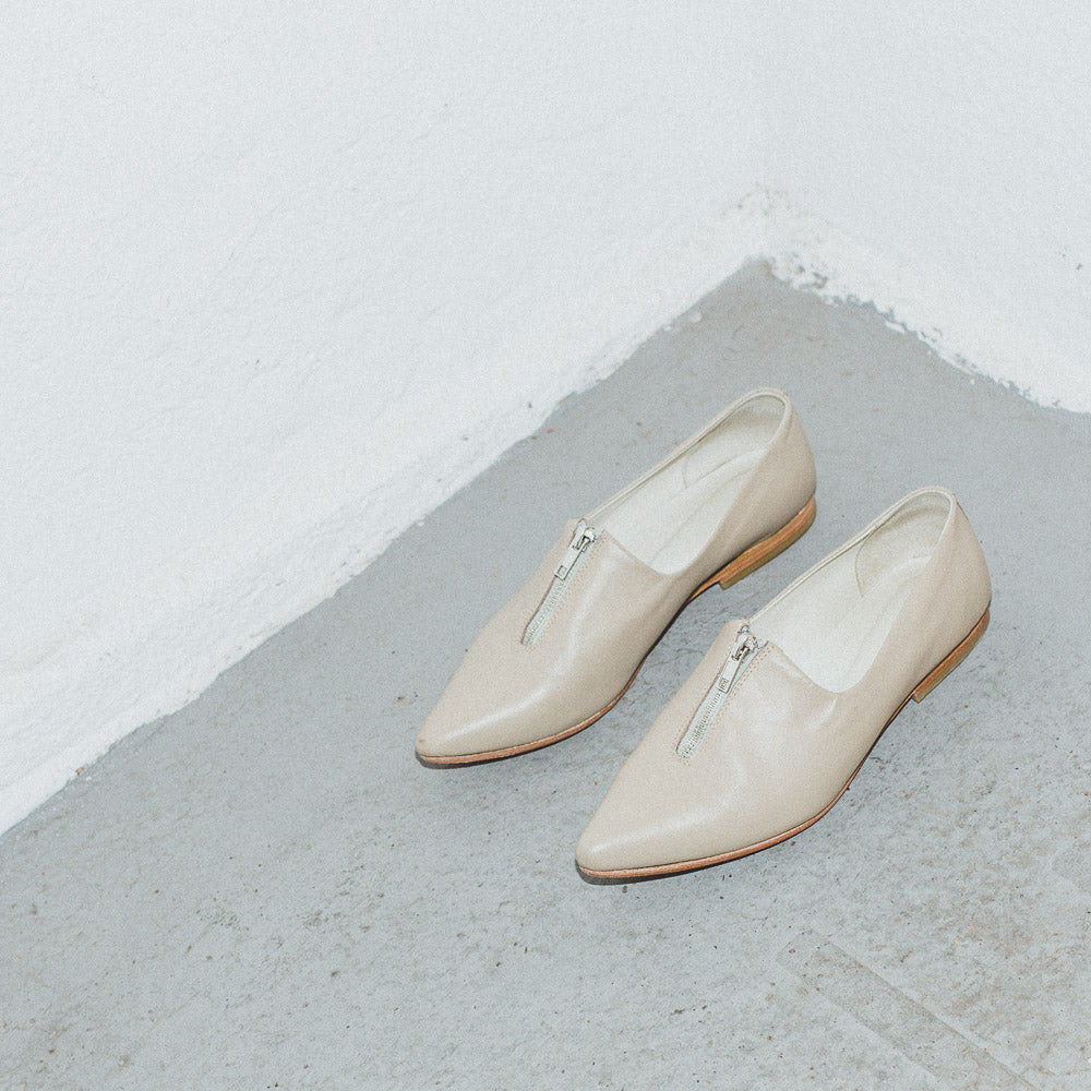 Beige Pointed Toe Flats